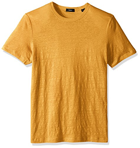 Sunset Yellow T-shirt - Theory Men's Storm Linen Essential Tee, Sunset, XXL