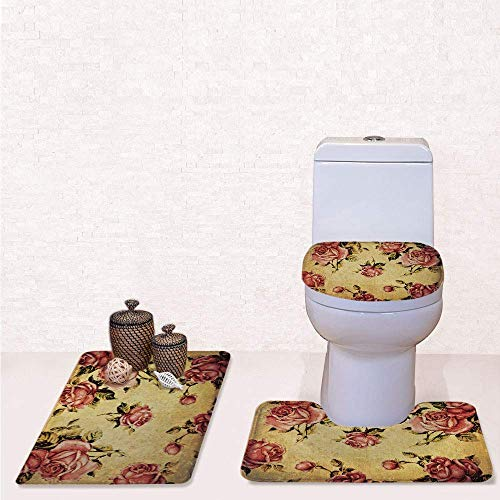 - Comfort Flannel 3 Pcs Bath Rug Set,Contour Mat Toilet Seat Cover,Old Fashioned Victorian Style Rose Pattern with Dramatic Color Boho Art Design with Cream Pink Green,Decorate Bathroom,Entrance Door,k