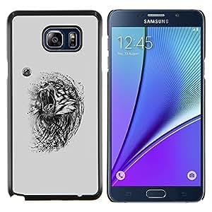 Caucho caso de Shell duro de la cubierta de accesorios de protección BY RAYDREAMMM - Samsung Galaxy Note 5 5th N9200 - Tigre enojado