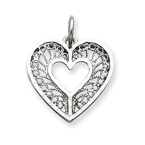 14k Yellow Gold Casted Fancy Filigree Heart Charm Pendant 21mmx17mm