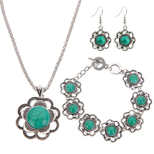 Lianjie Turquoises Earrings Necklace Bracelet product image