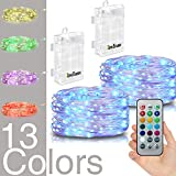 Hometarry LED String Lights - 2 Pack Battery Operated Lights Multi Color Changing String Lights Remote Control Waterproof 50LED 16.4ft Indoor Decorative Silver Wire Lights for Bedroom - Christmas lights