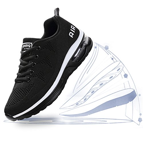 Schwarz Sportschuhe Turnschuhe Weiß Fitness Bequem Sneaker Air Unisex Shoes Running Schnürer Leichtgewicht Gym Laufschuhe Atmungsaktiv Dexuntong 1x8Apq6Tn