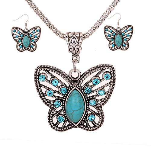 Vintage Tibetan Silver Elegant Carved Turquoise Earrings And Pendant Necklace Earrings Jewelry Set (Butterfly diamond (Diamond Set Butterfly Pendant)