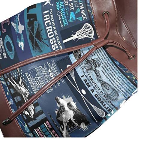 Kvinnor PU-läder lacrosse ryggsäck handväska resa skola axelväska ledig dagväska
