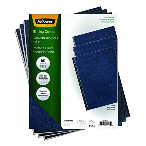 Fellowes Binding Grain Presentation Covers, Letter, Navy, 50 Pack (52124)