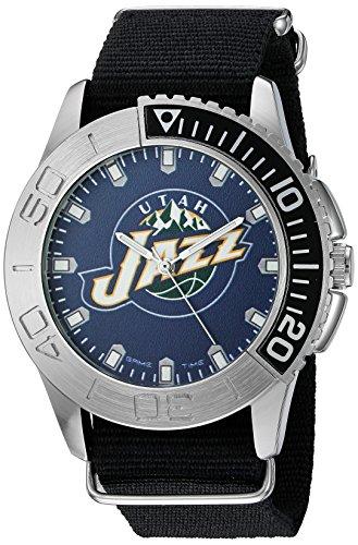 Game Time Men's 'Starter'  Metal and Nylon Quartz Analog Watch, Color:Black (Model: NBA-STA-UTA)
