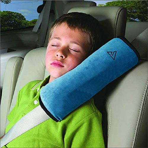 Summit Standard Seatbelt Pillow I Kids/Adults (Blue, One Pillow) Car and Vehicle Safety or Seat Belt Cover Protector Cushion I Child/Baby Universal Plush Highest Quality Auto Strap Pad Cover