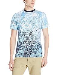 PARISH NATION Men's Geometric Graphic Knit T-Shirt, Indigo, X-Large