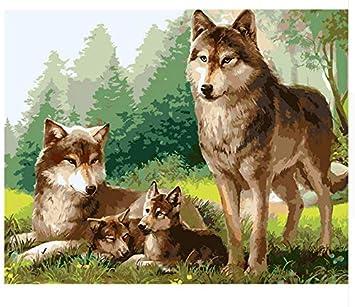 Yzrh Marco Lobo Familia Animales Pintura Diy Por Números Kits