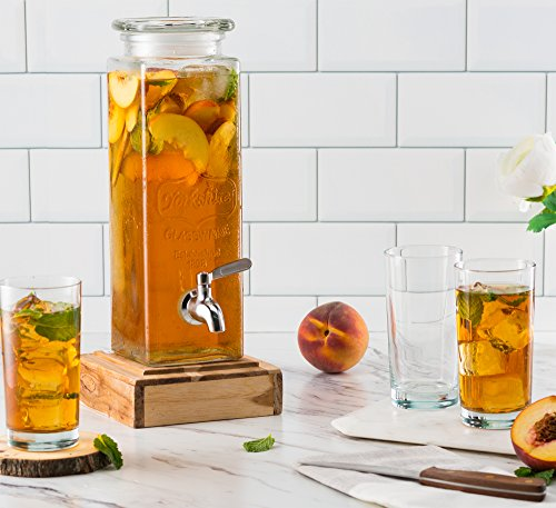 KooK Tall Square Glass Yorkshire Mason Jar Drink Dispenser with Stainless Steel Spigot and Glass Lid, 80 Once by KooK (Image #3)