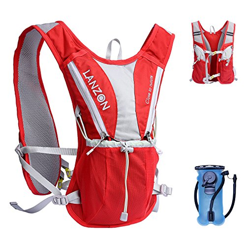 Cheap LANZON Hydration Pack with 2L Water Bladder (NO Cleaning Kit) – #2 Red – Marathon Running Vest, Leakproof Reservoir