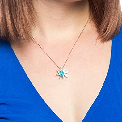 Beaux Bijoux Sterling Silver Created Blue Opal Solar Eclipse Sun Pendant with 18 Chain
