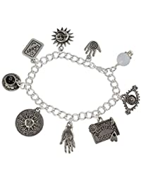 Fortune Teller Divination Pewter Charm Bracelet- Silver Plated Chain- Crystal Ball, Palm Reader, Tarot