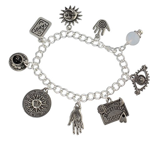 - Fortune Teller Divination Pewter Charm Bracelet- Silver Plated Chain- Crystal Ball, Palm Reader, Tarot (7.5