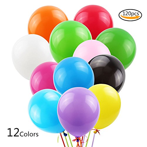 Teenitor Thick Latex Balloons, Party Balloons, Party Celebration Assorted Color Balloons 12 Different Color, 12'', 120 (Color Latex)