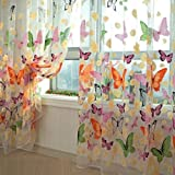 Yong8 Home Use Curtain Butterfly Print Window Panel Curtains Sheer Room Divider Curtain for living room bedroom