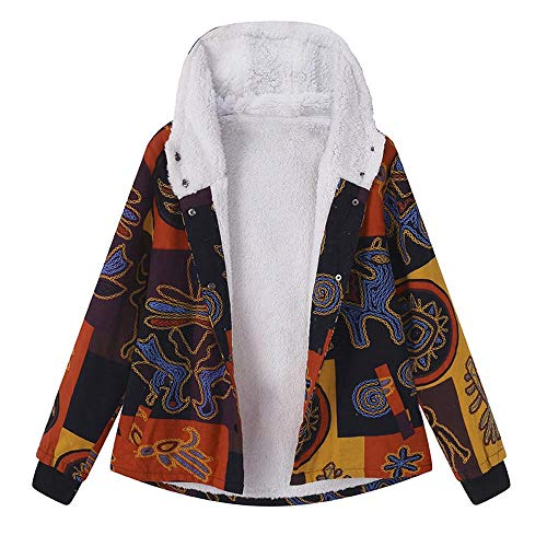 (AgrinTol Womens Winter Warm Outwear Floral Print Hooded Pockets Vintage Oversize)