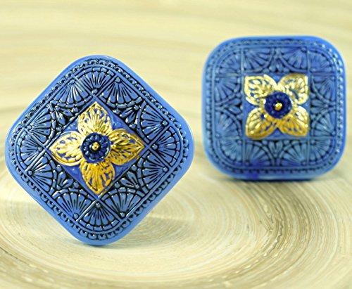 (1pc Handmade Large Czech Glass Button Square Flower Gold Black Blue Opal Size 14, 33mm)