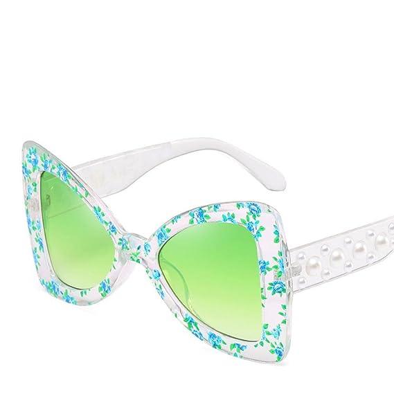 Aoligei Européens et américains lunettes de soleil noeud de papillon grand cadre mosaïque personnalité jambe perle miroir petites lunettes de mer floral femme s MQRipB