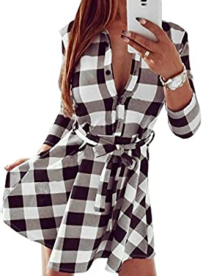 FANCYINN Women Long Sleeve Plaid Pattern Tunic Tops Shirt Casual Dress