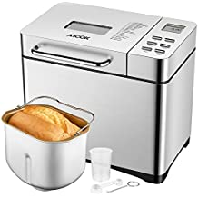 Aicok Programmable Bread Machine, 2.2LB Stainless Steel Bread Maker with Fruit and Nut Dispenser, 3 Loaf Sizes, 3 Crust Colors, 15-Hour Delay Timer, 1 Hour Keep Warm, 19 Settings Including Gluten Free