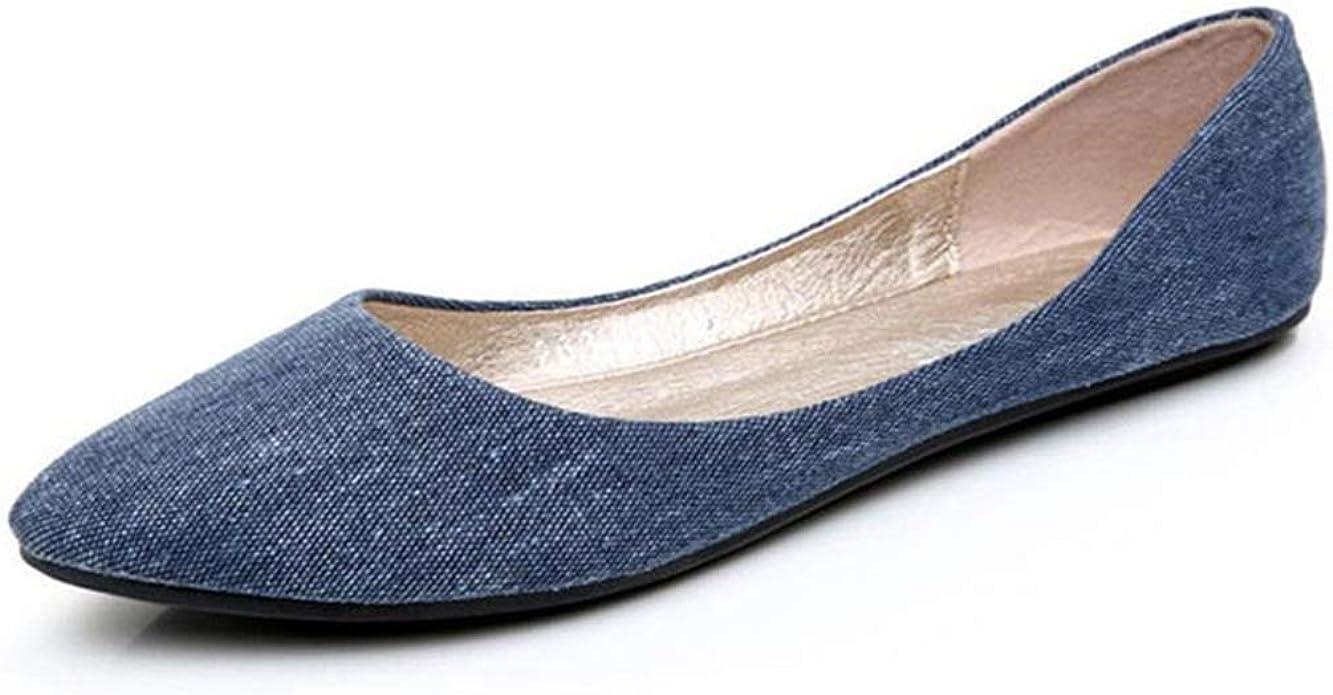 Chercher M Women Soft Denim Flats Fashion Basic Pointy Toe Ballerina Ballet Flat Slip On Office