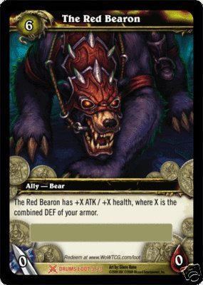 World of Warcraft The Red Bearon Epic Bear Mount Loot Card - Drums of War [Toy] (World Of Warcraft Trading Card Game Loot)