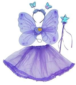 Disfraz de hada azúl para niñas - Alas mariposa de hada, Tutu, Varita mágica y tocado Set de disfraz de hada de 2-7 años