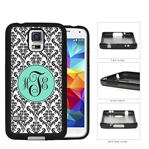 Black And White Damask With Teal Monogram (Custom Initials) Rubber Silicone TPU Cell Phone Case Samsung Galaxy S5 SM-G900