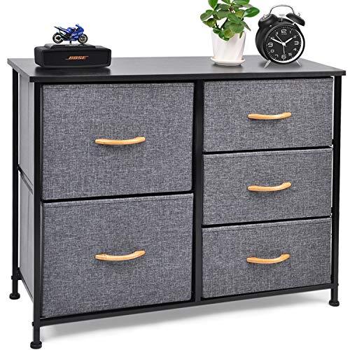 CERBIOR Drawer Dresser Closet Storage Organizer 5-Drawer Closet Shelves, Sturdy Steel Frame Wood Top with Easy Pull Fabric Bins for Clothing, Blankets - Dark Grey