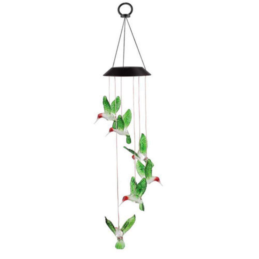 Solar Color Changing LED Hummingbird Wind Chimes Light Lamp Home Garden Party Decor Xiaolanwelc (Multi)
