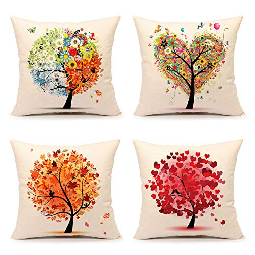 4TH Emotion Colorful Autumn Flower Tree Fall Home Decor Throw Pillow Case Cushion Cover 18 x 18 Inch Cotton Linen,Set of ()