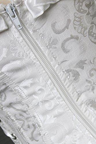 Weiß Charmian Elegance Jacquard Satin Sleeves Corset Ruffle Women's Overbust Weave