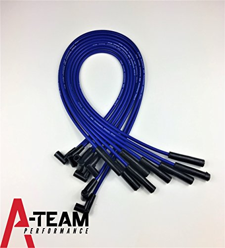 A-Team Performance 8.0mm Blue Silicone Spark Plug Wires BBF FE Big Block Ford Valve Cover Wires 332 351C 351M 352 360 361 370 390 400 427 428 429 460 (Big Block Valve Cover)