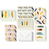 48 Pack All Occasion Assorted Blank Note Cards Greeting Card Bulk Box Set - Colorful Watercolor Feather Designs - Notecards with Envelopes Included 4 x 6 inches