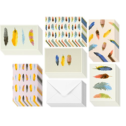 All Occasion Watercolor Feather Greeting Cards - Blank Colorful Minimalist Paper Greeting, Envelopes Included - 48 Pack