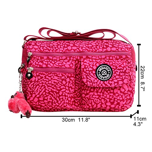 Black Nylon Handbag Women Pink Shoulder Bags Small Wiwsi Hot Zip New Crossbody Satchel Fashion nXxnPw