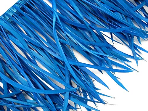 1 Yard - Turquoise Blue Goose Biots Stripped Wing Wholesale Feather Trim Halloween Craft Supply | Moonlight -