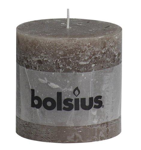 - RUSTIC Bolsius Medium Textured Pillar Candle in Taupe