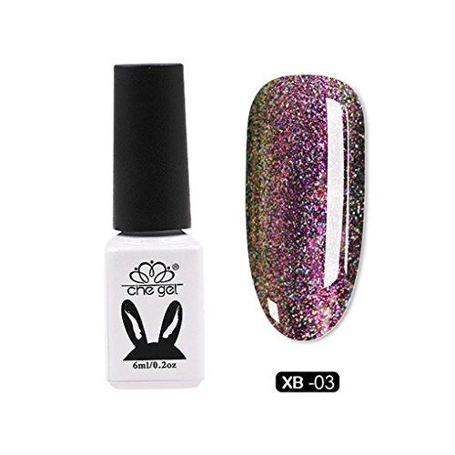 - LtrottedJ CHE GEL Nail UV Gel ,Polish Soak Off Nail Art Topcoat Cat Aurora Phantom Star Gel (C)