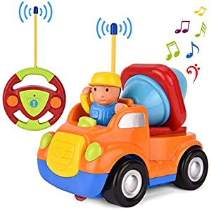 Remote Control car, GotechoD Cartoon RC mixer truck with Music and Lights, Radio Control Toy for Baby Toddlers Kids and Children, Perfect for Holiday Birthday presents(Orange)