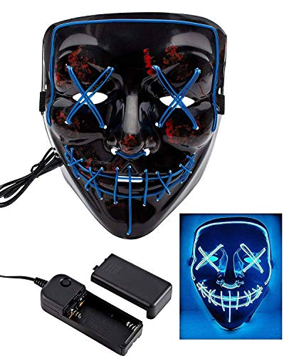 Lumiere Halloween Scary LED Purge Mask for Festival, Party, Costume, (Blue)