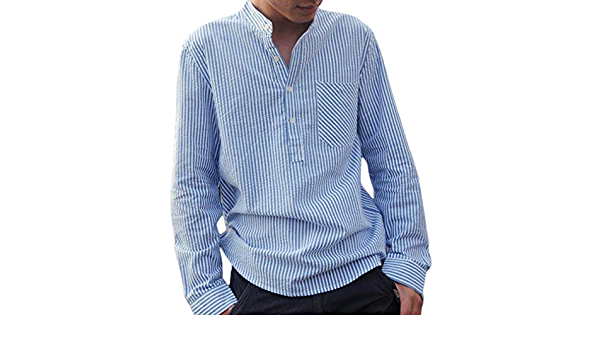 Camisa a Rayas para Hombre - Moda Manga Larga Loose Fit ...