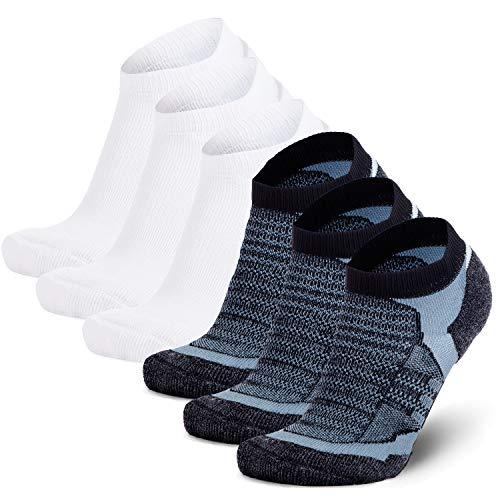 (Low Cut Wool Running Socks – Cushioned Merino Wool Athletic Socks for Men and Women, Moisture Wicking (6 Pack - Black/Grey (3) + White (3),)