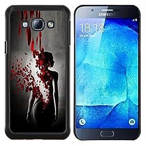 EJOOY---Cubierta de la caja de protección para la piel dura ** Samsung Galaxy A8 A8000 ** --Sangre Rose Petal Vestido Negro Mujer