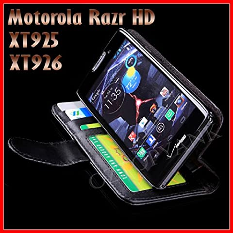 Wallet Phone Case with ID Card Window for Motorola Razr HD XT925 and XT926 (Motorola Razr Xt925 Hd Case)