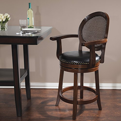 Cane Back Leather Swivel Counter Stool — 26in. Seat Height, Dark Brown