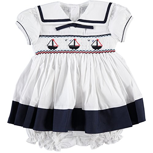 Carriage Boutique White Sailor Dress and Panty, 6M (Pretty Girl Outfits)