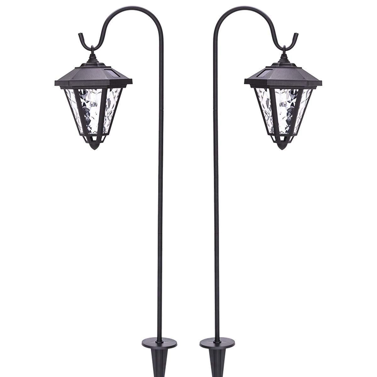 GIGALUMI 31.5 inch Solar Lights Outdoor, Hanging Solar Coach Lantern 2 Shepherd Hooks (2 Pack)